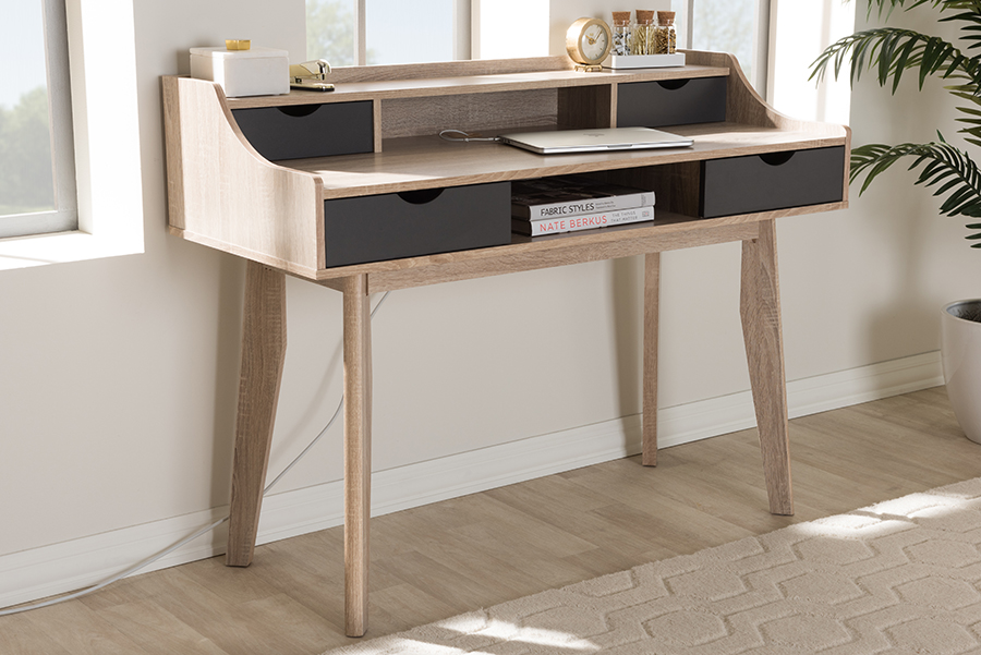 Fella 4 Drawer Oak Grey Wood Study Desk   Baxton Studio