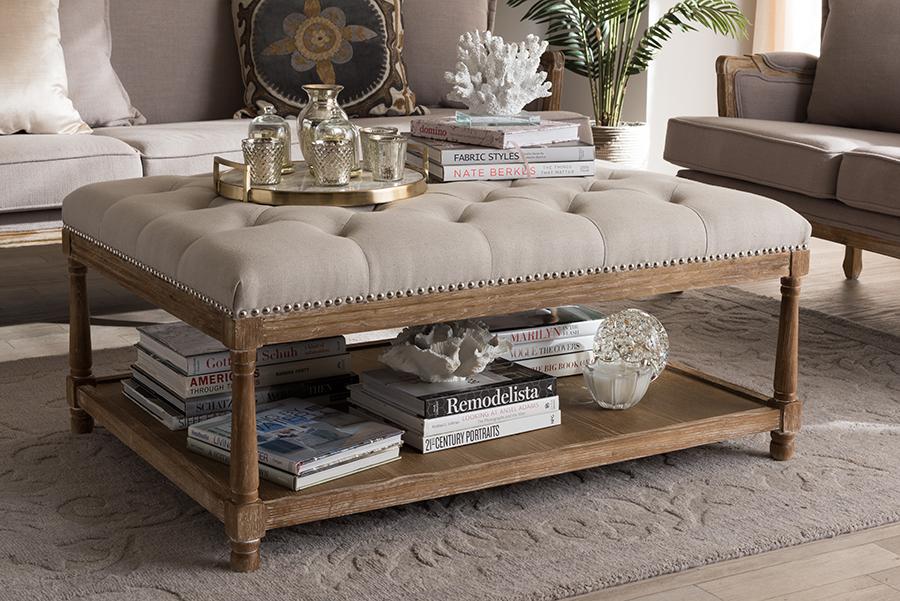 Carlotta Oak Beige Linen Rectangular Coffee Table Ottoman | Baxton Studio