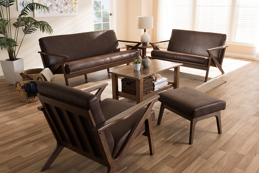 Bianca Walnut Wood Dark Brown Faux Leather Livingroom Sofa Set   Baxton Studio
