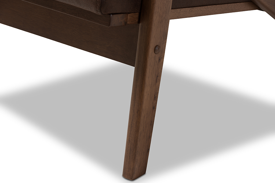 Bianca Walnut Wood Dark Brown Faux Leather Lounge Chair Ottoman Set   Baxton Studio
