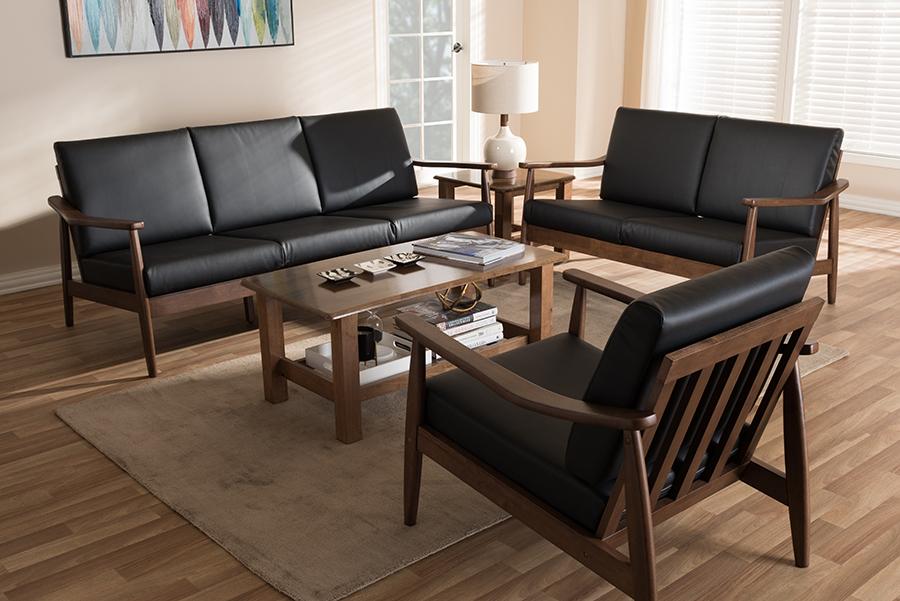 Venza Walnut Wood Black Faux Leather 3-pc Livingroom Set   Baxton Studio