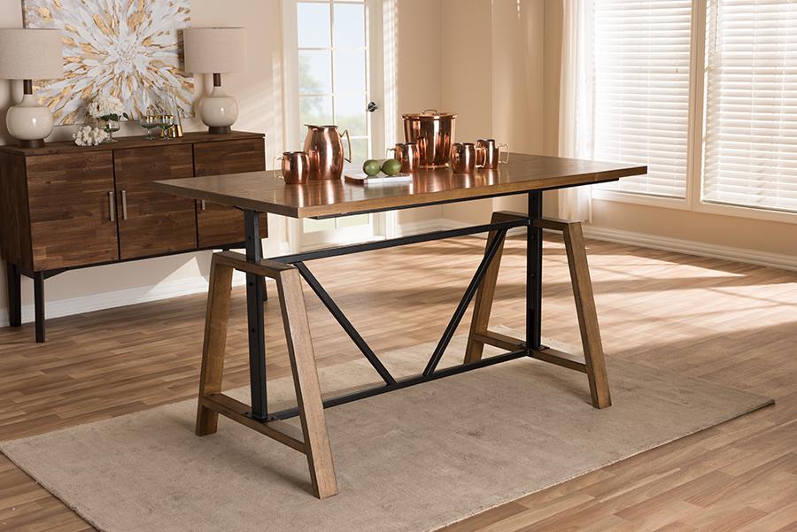 Nico Metal Wood Adjustable Height Work Table   Baxton Studio