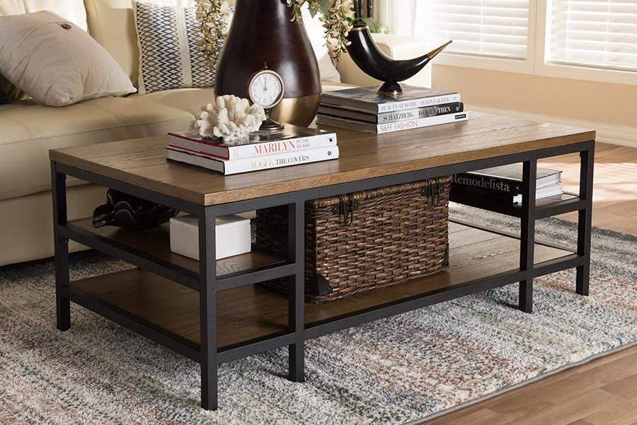 Caribou Oak Brown Wood Black Metal Coffee Table | Baxton Studio