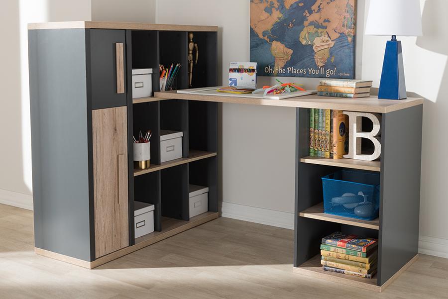 Pandora Dark Grey Light Brown Study Desk with Shelving Unit   Baxton Studio