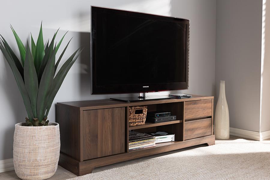 Burnwood Walnut Wood TV Stand | Baxton Studio