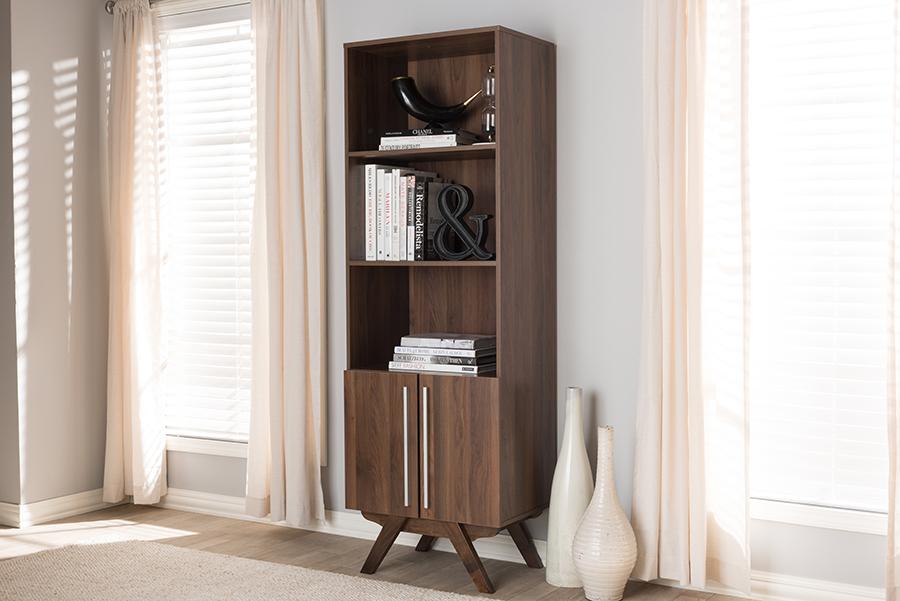 Ashfield Walnut Wood Bookcase   Baxton Studio