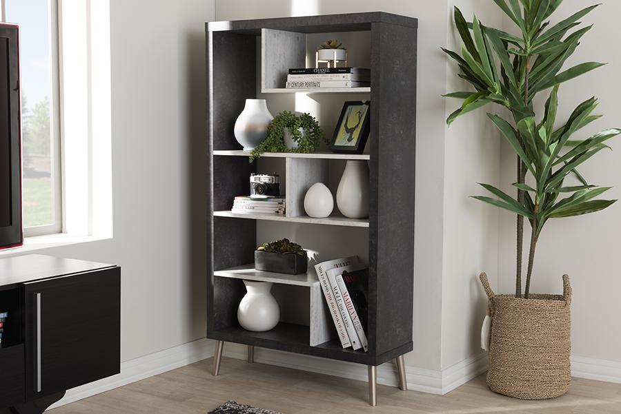 Atlantic Dark Brown Light Grey Wood Display Shelf   Baxton Studio