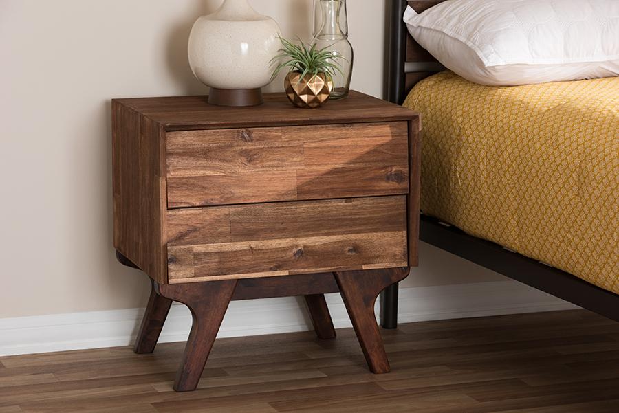 Sierra Brown Wood 2 Drawer Nightstand | Baxton Studio