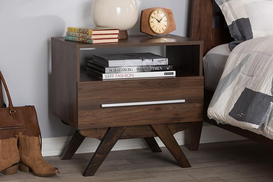 Ashfield Walnut Wood Nightstand | Baxton Studio