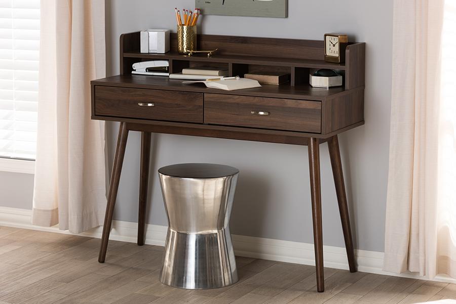 Disa Walnut Brown 2 Drawer Desk   Baxton Studio