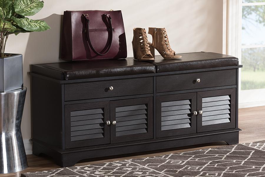 Leo Dark Brown Wood 2 Drawer Shoe Storage Bench | Baxton Studio