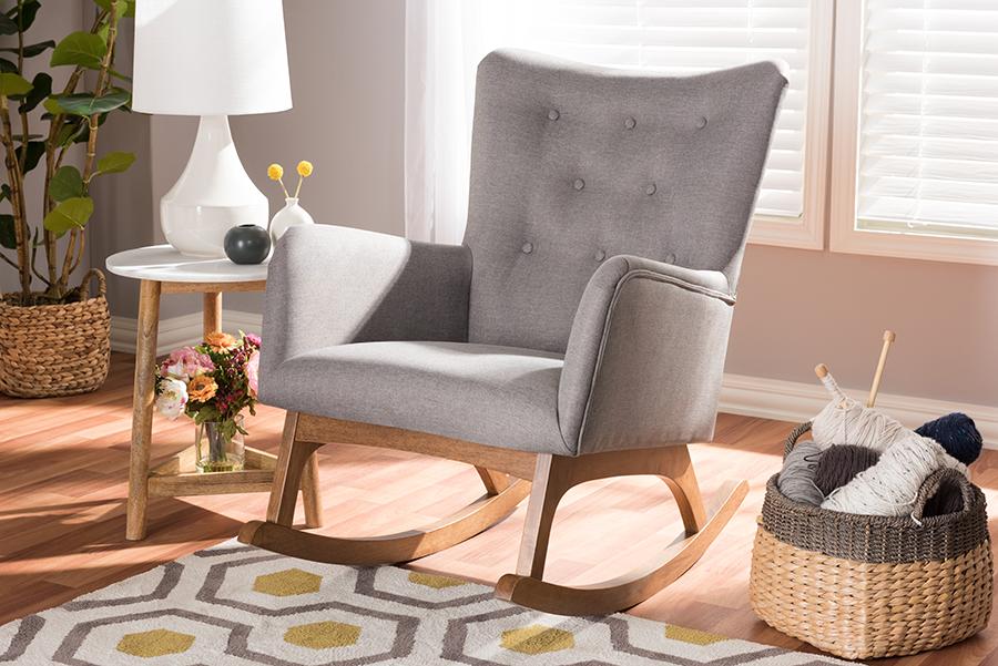 Waldmann Grey Fabric Rocking Chair | Baxton Studio