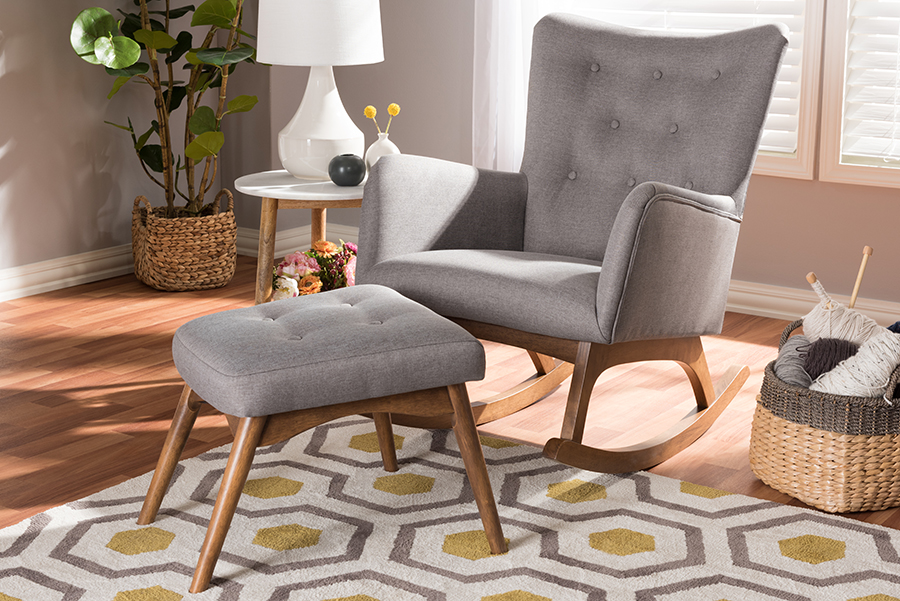 Waldmann Grey Fabric Rocking Chair Ottoman Set   Baxton Studio