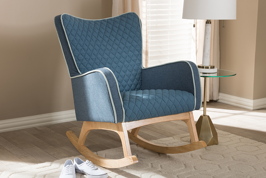 Zoelle Blue Fabric Natural Rocking Chair   Baxton Studio