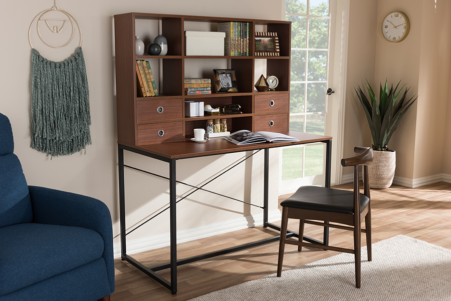 Edwin Brown Wood Metal 2 in 1 Bookcase Writing Desk | Baxton Studio