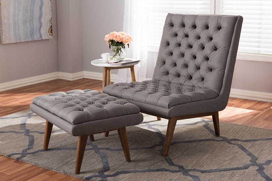 Annetha Grey Fabric Walnut Wood Chair Ottoman Set   Baxton Studio