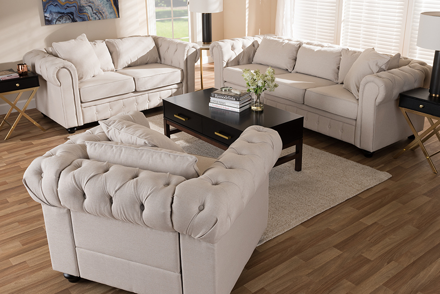 Alaise Beige Linen Tufted Scroll Arm Chesterfield 3-pc Living Room Set   Baxton Studio