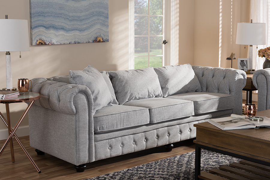Alaise Grey Linen Tufted Scroll Arm Chesterfield Sofa | Baxton Studio