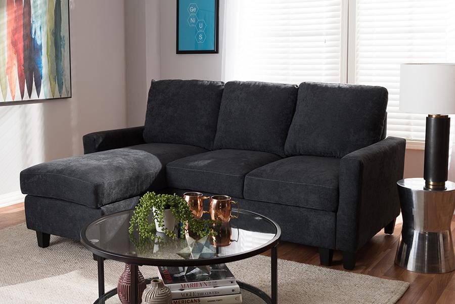 Greyson Dark Grey Fabric Reversible Sectional Sofa   Baxton Studio
