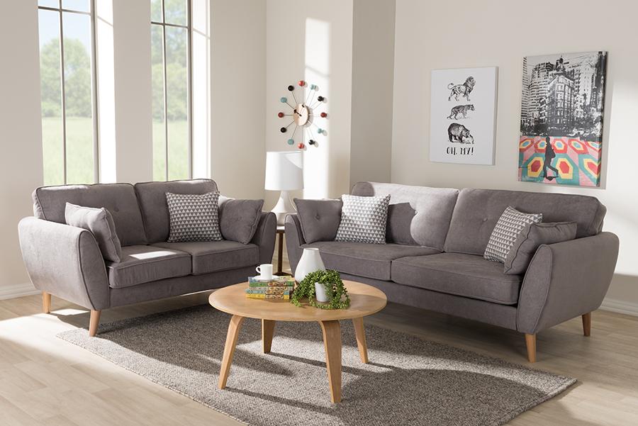 Miranda Light Grey Fabric 2-pc Living Room Set   Baxton Studio