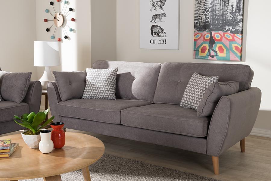 Miranda Light Grey Fabric Sofa | Baxton Studio
