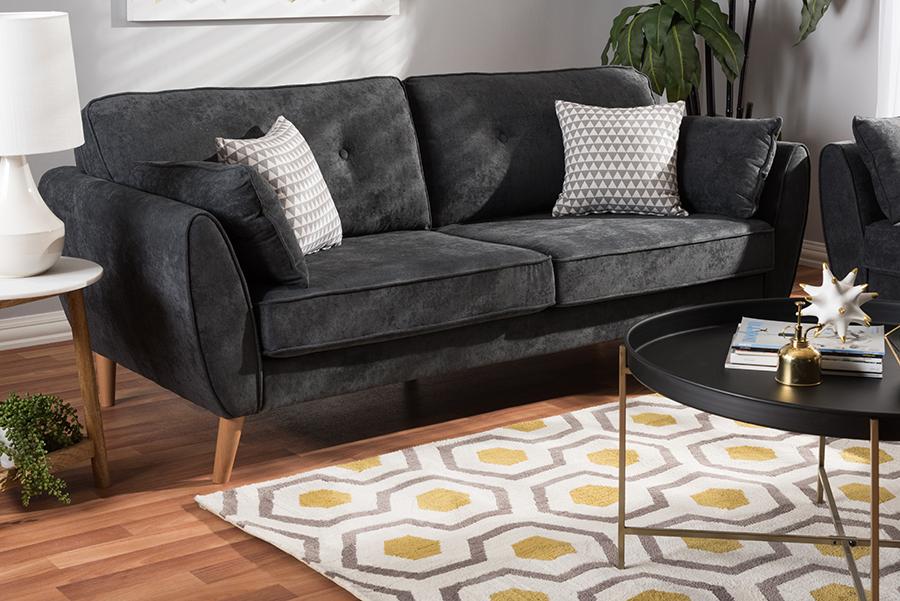 Miranda Dark Grey Fabric Sofa   Baxton Studio