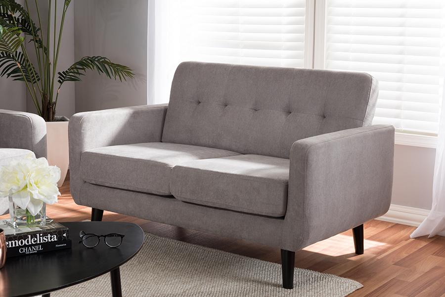 Carina Light Grey Fabric Loveseat | Baxton Studio