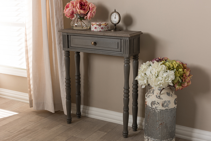 Noemie Brown 1 Drawer Console Table | Baxton Studio