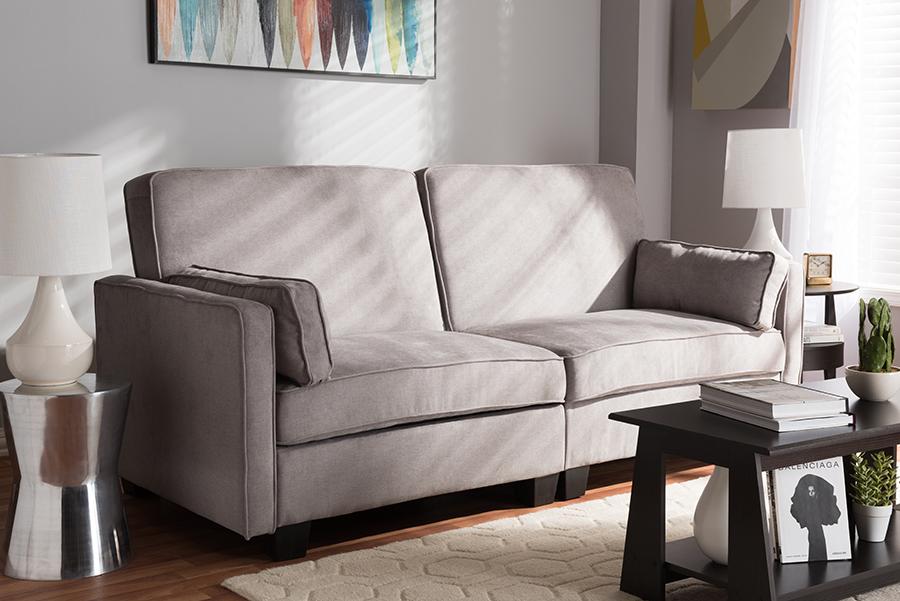 Felicity Light Gray Fabric Sofa | Baxton Studio