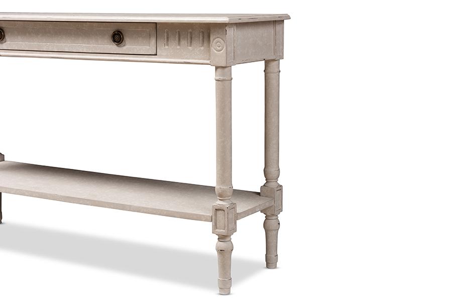 Ariella Whitewashed 1 Drawer Console Table   Baxton Studio