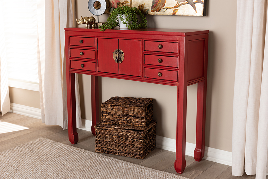 Melodie Antique Red Wood Bronze Accents 6 Drawer Console Table   Baxton Studio