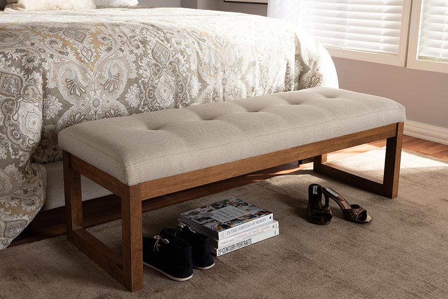 Caramay Light Beige Fabric Walnut Wood Bench   Baxton Studio
