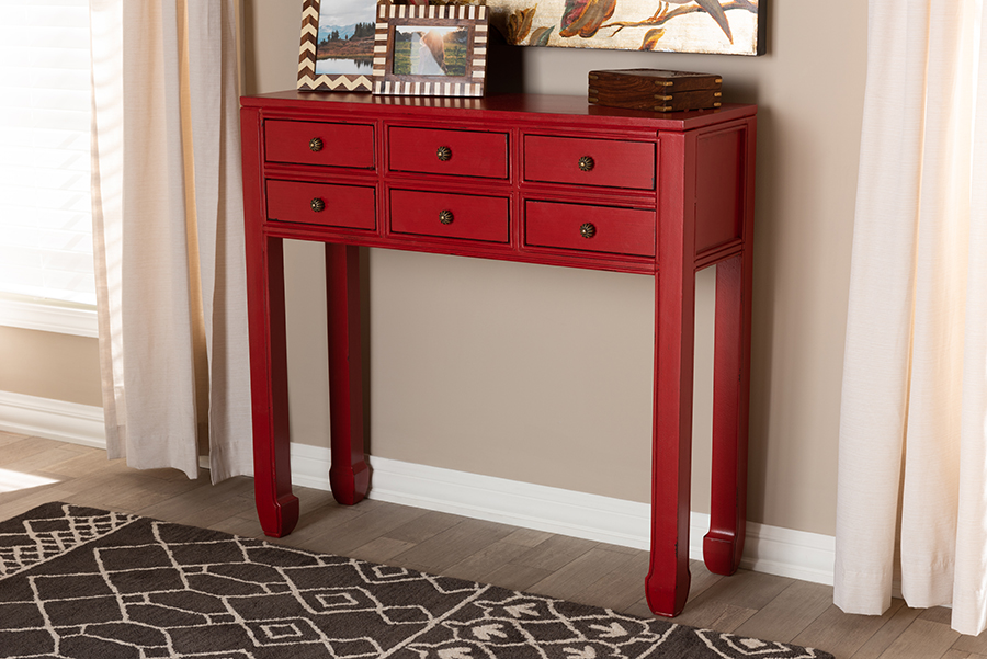 Pomme Antique Red Wood Bronze Accents 6 Drawer Console Table   Baxton Studio