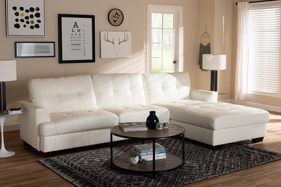 Adalynn White Faux Leather Sectional Sofa | Baxton Studio