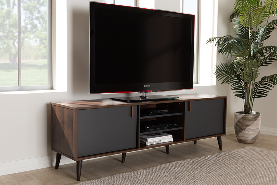 Samuel Brown Dark Grey TV Stand | Baxton Studio
