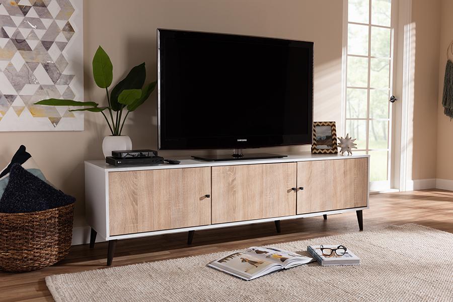 Bastien White Light Oak 6 Shelf TV Stand | Baxton Studio