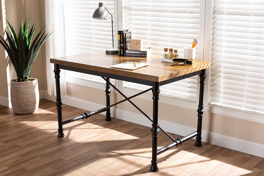 Verdin Wood Dark Bronze Criss Cross Desk | Baxton Studio