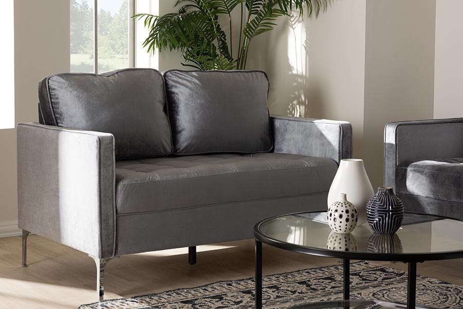 Clara Grey Velvet Fabric 2 Seater Loveseat | Baxton Studio