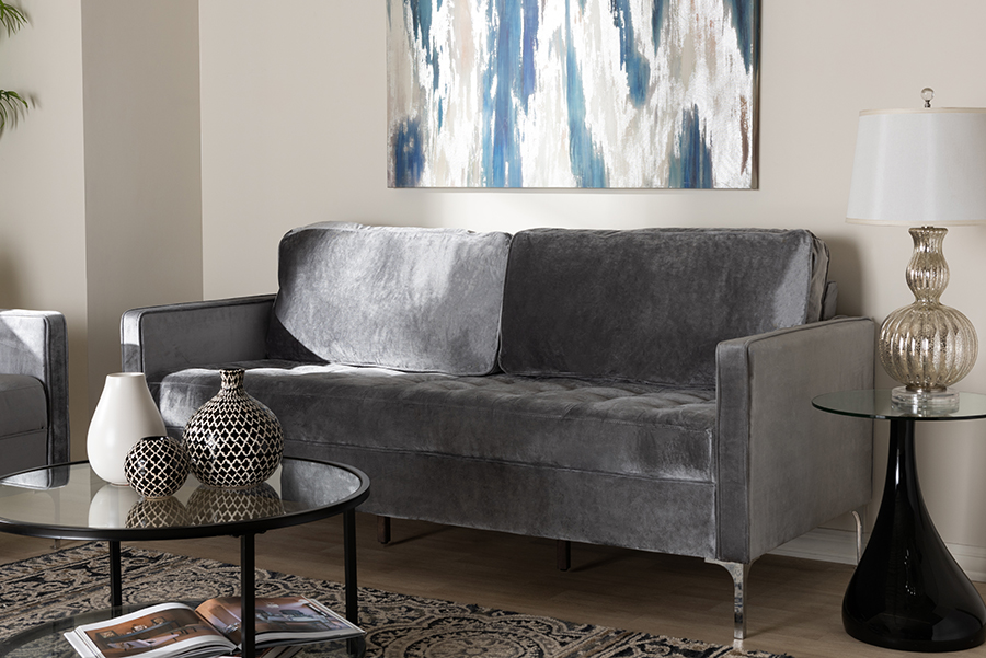 Clara Grey Velvet Fabric 3 Seater Sofa | Baxton Studio