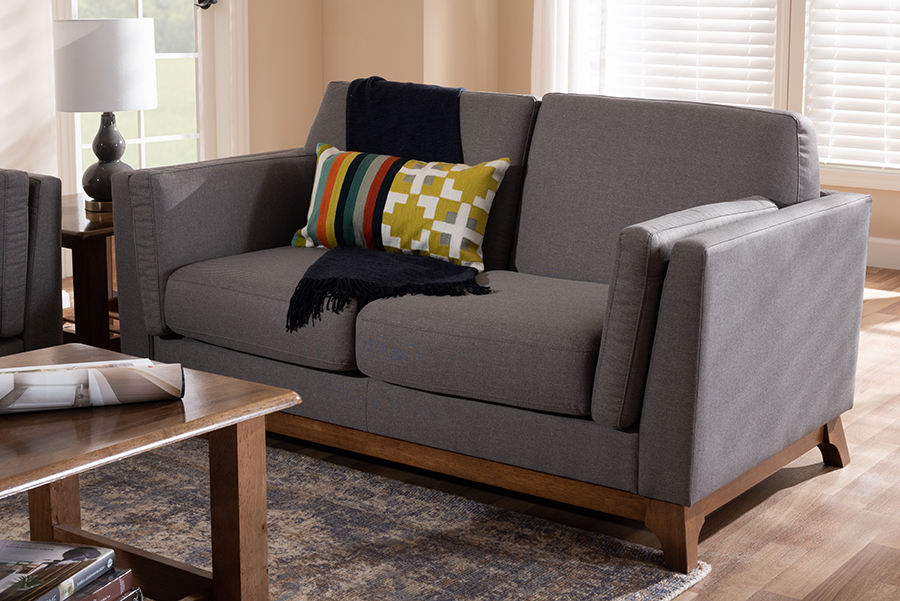 Sava Grey Fabric Walnut Wood 2 Seater Loveseat   Baxton Studio
