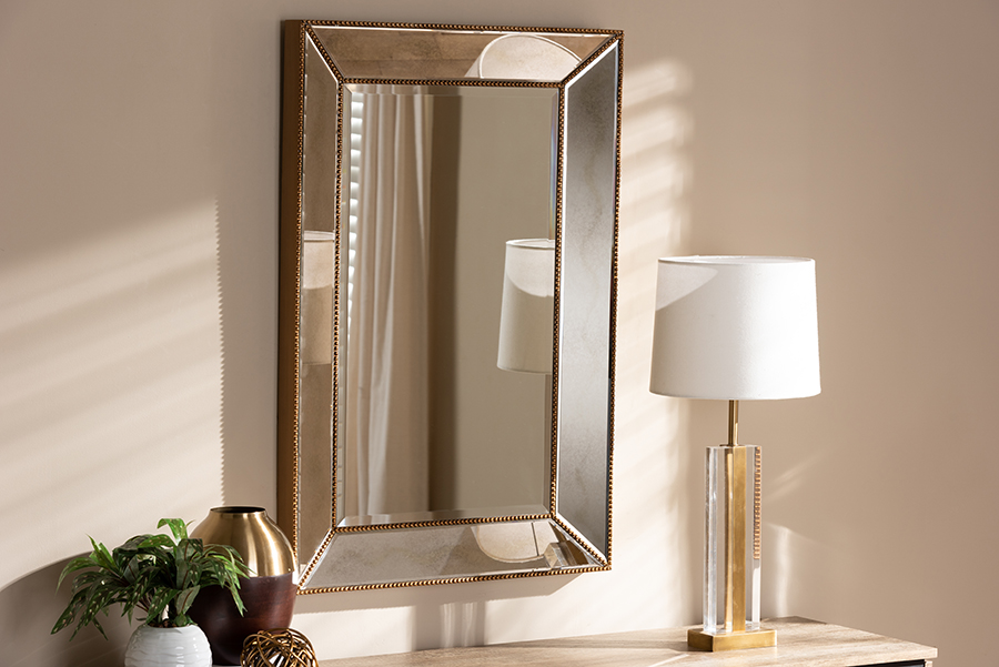 Neva Antique Gold Rectangular Accent Wall Mirror | Baxton Studio