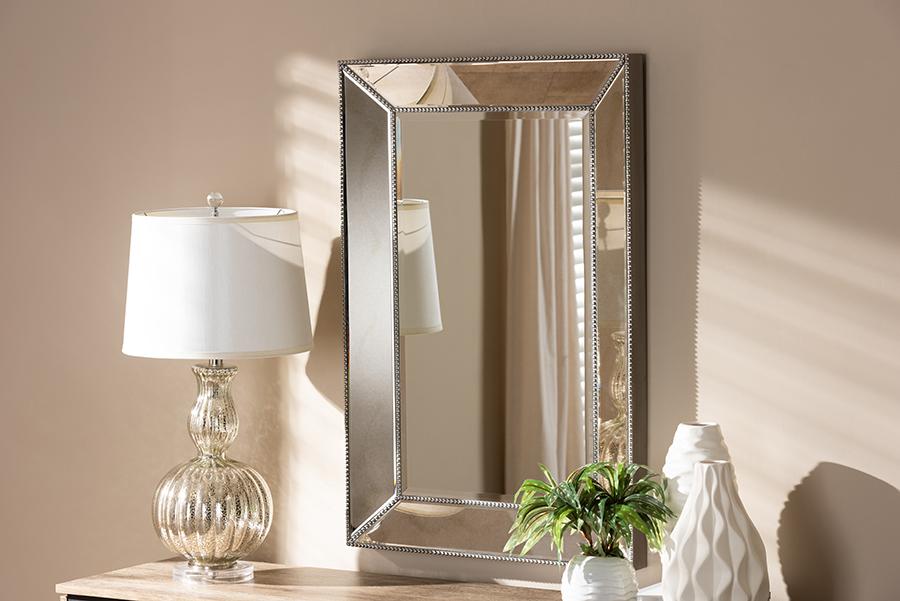Emelie Antique Silver Accent Wall Mirror   Baxton Studio