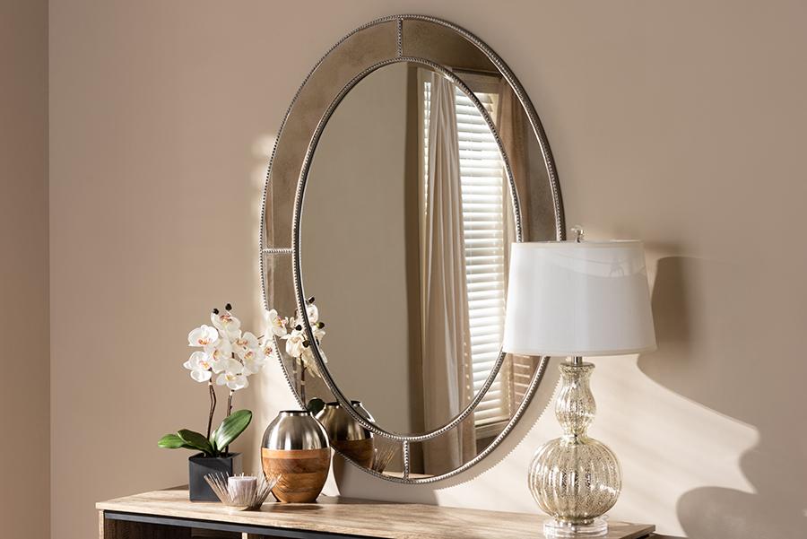 Branca Antique Silver Oval Accent Wall Mirror   Baxton Studio