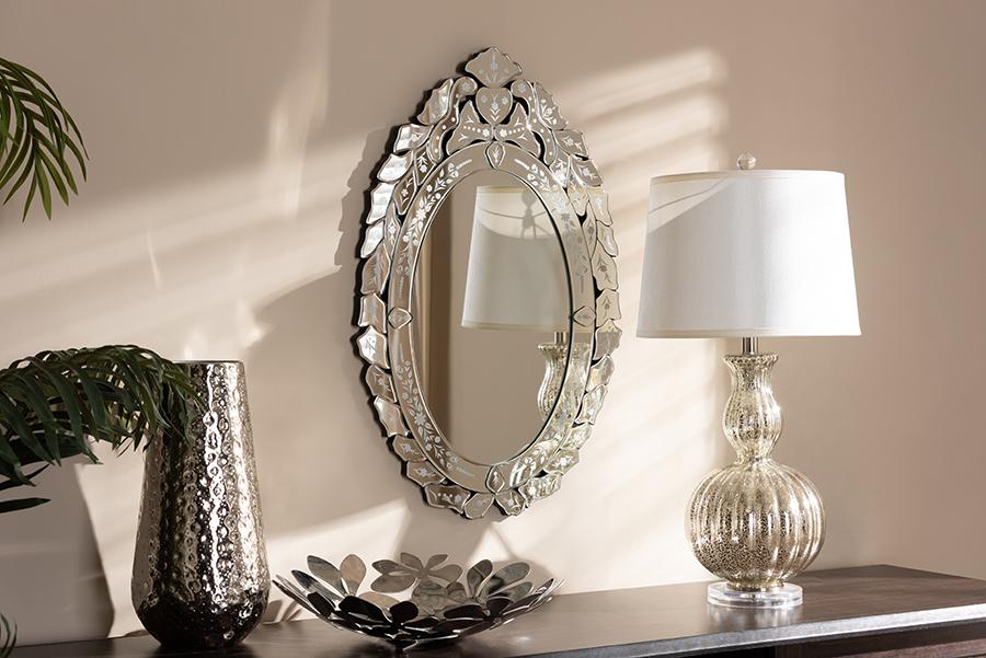 Livia Silver Accent Wall Mirror   Baxton Studio