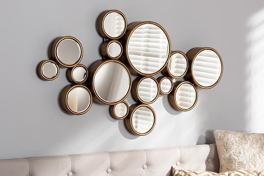 Cassiopeia Antique Gold Bubble Accent Wall Mirror | Baxton Studio