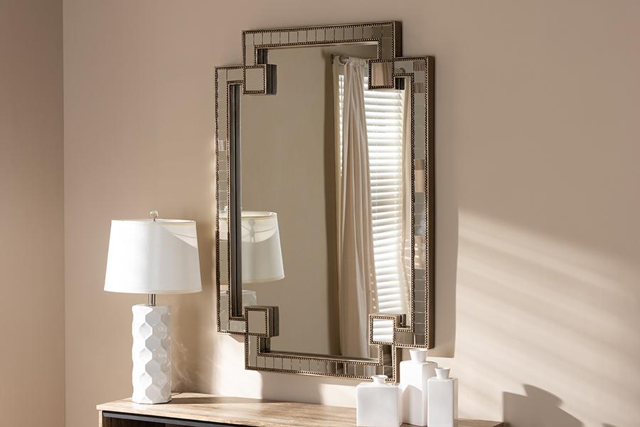 Fiorella Antique Silver Studded Accent Wall Mirror | Baxton Studio