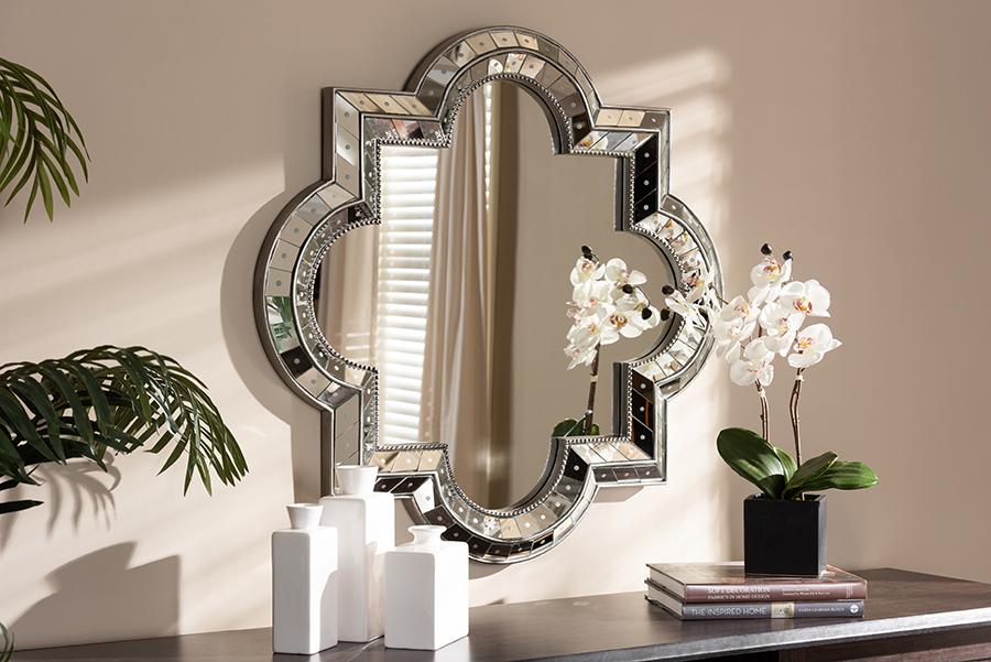 Catia Antique Silver Quatrefoil Accent Wall Mirror | Baxton Studio