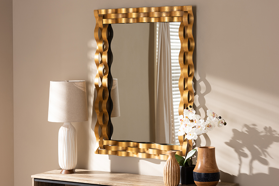 Arpina Antique Gold Rectangular Accent Wall Mirror | Baxton Studio