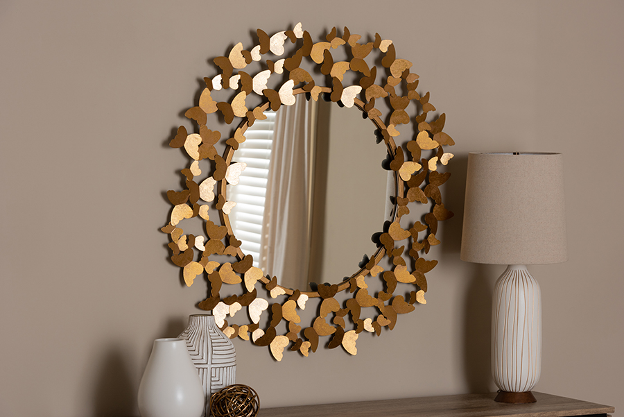 Soleil Antique Gold Butterfly Accent Wall Mirror | Baxton Studio