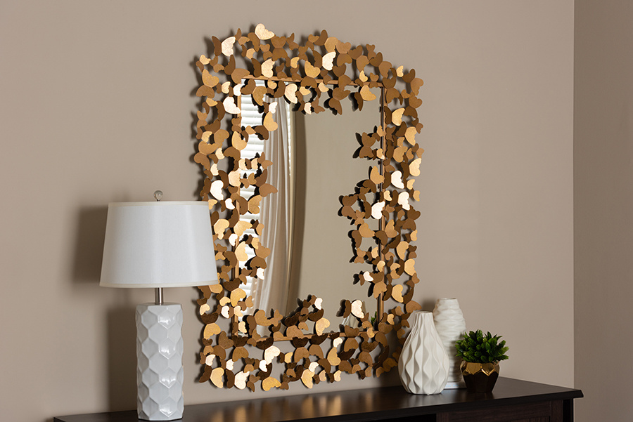 Idalia Antique Gold Butterfly Accent Wall Mirror   Baxton Studio